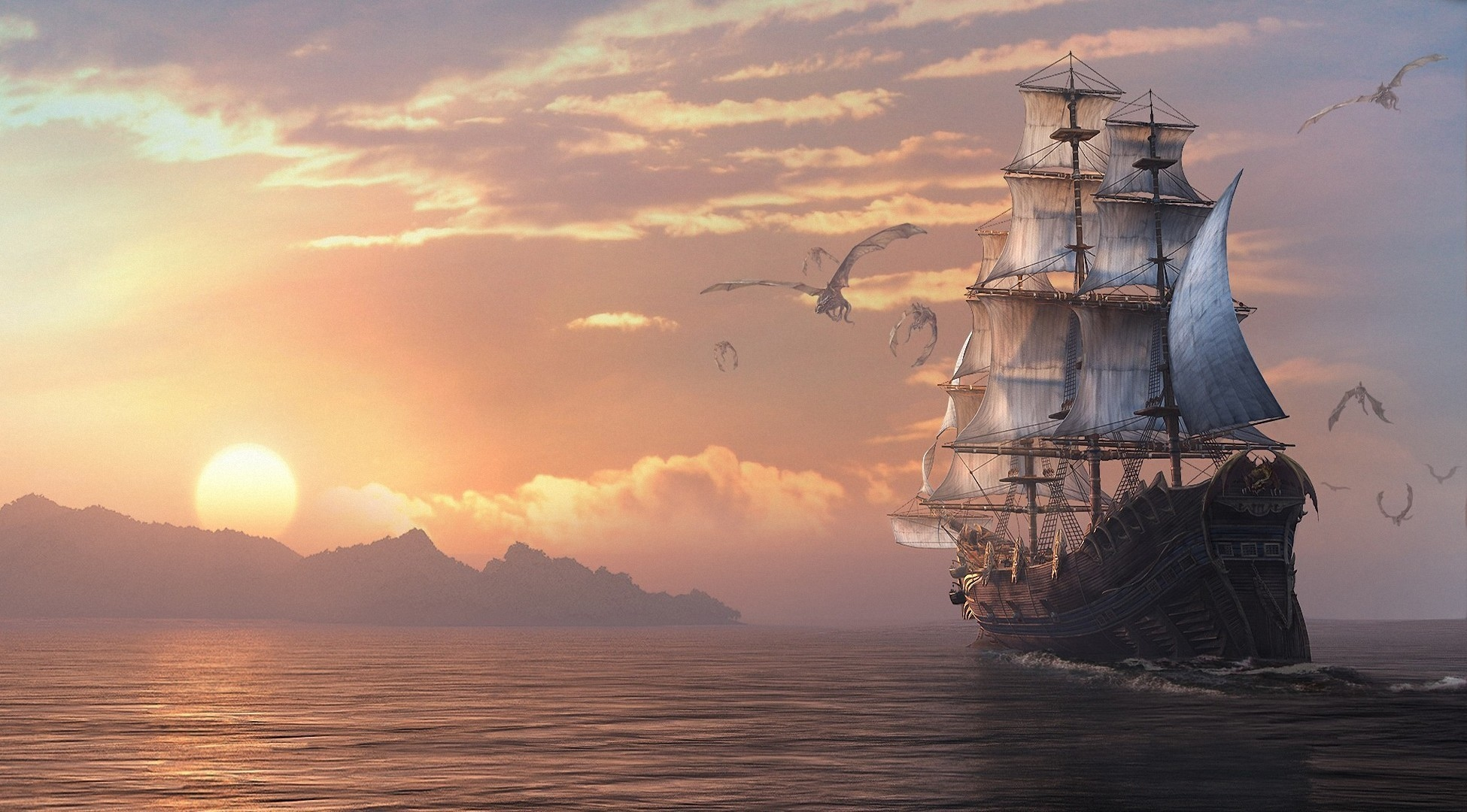 Sailing Under The Dragon Flight Hd Wallpaper Background Image 1950x1080 Id 571155 Wallpaper Abyss