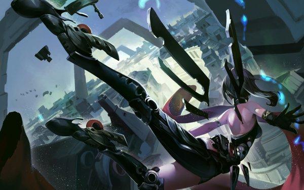 Anime Original Fille Wings Mecha Falling Ville Fond d'écran HD | Arrière-Plan