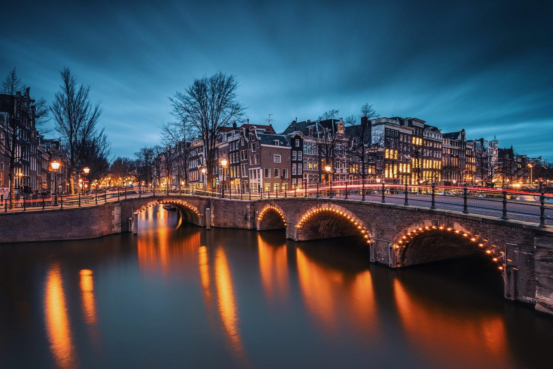 Man Made - Amsterdam  Emperor's Canal Building Light Evening River City Nederland Wallpaper