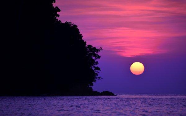 Earth Sunset Sea Sun Thailand HD Wallpaper | Background Image