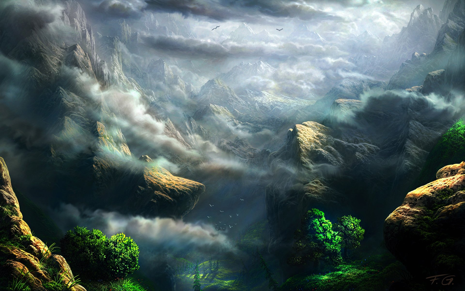 Fantasy - Landscape  Rock Fog Mountain Fantasy Wallpaper