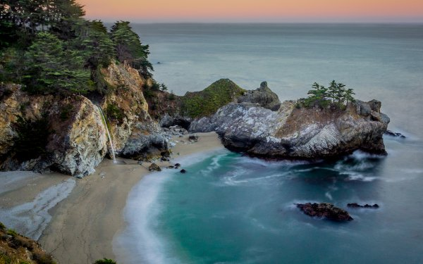 Earth Big Sur Seashore Waterfall McWay Falls California Sea Rock HD Wallpaper   Background Image