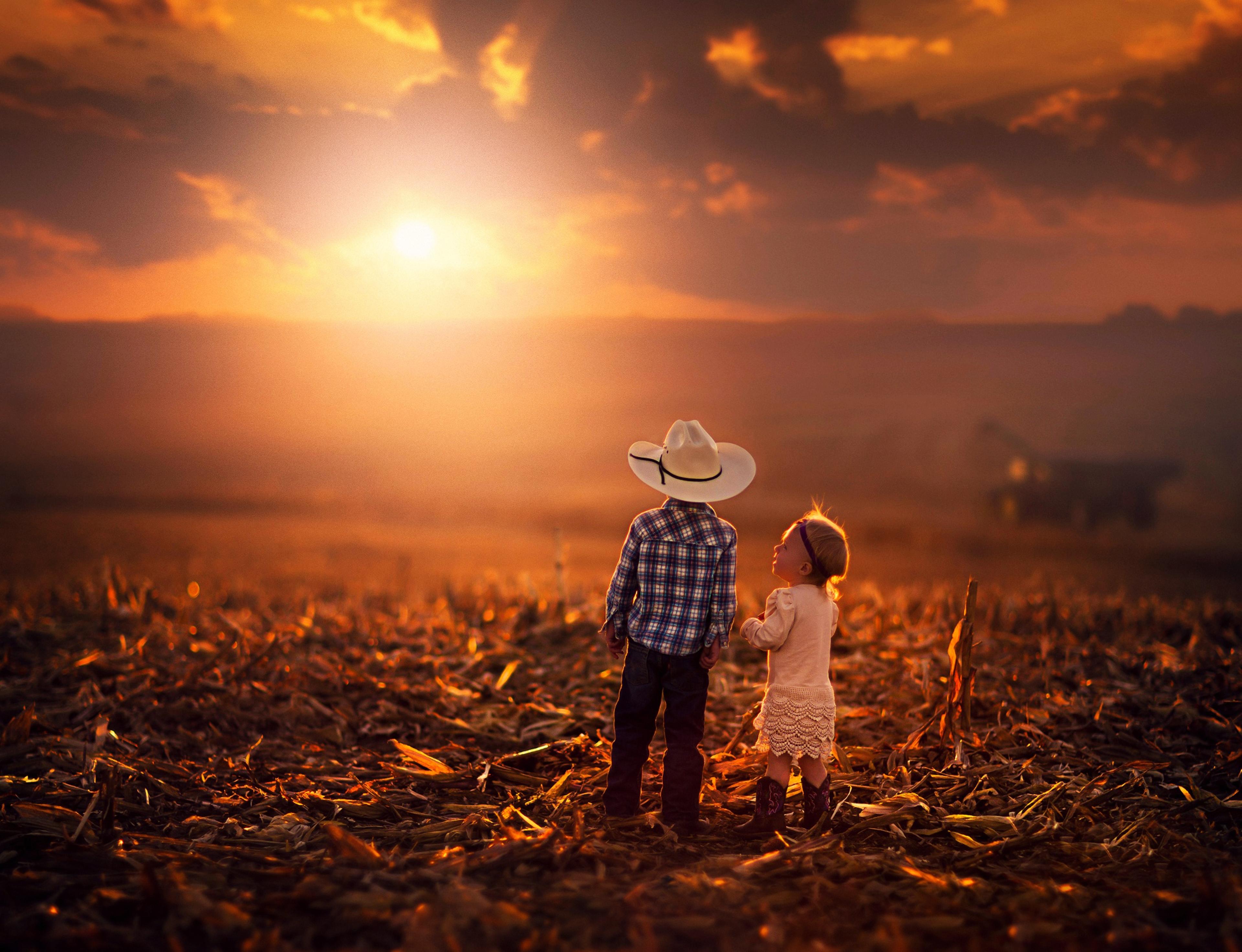 Kids Sunset 4k Ultra HD Wallpaper