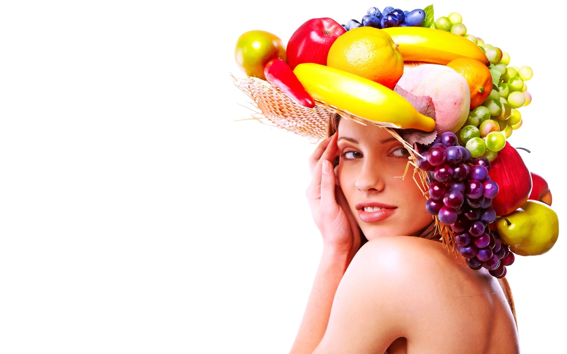 Women - Beautiful  Hat Model Face Fruit Colorful Wallpaper