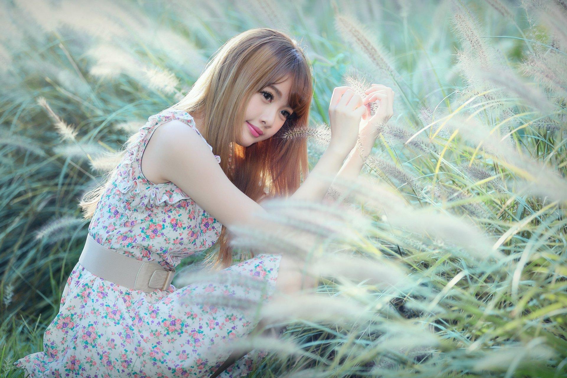 Women - Cubie Wang  Smile Belt Dress Portrait Bokeh Taiwanese Asian Model Girl Wallpaper