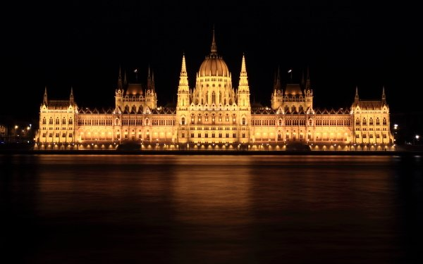 Man Made Hungarian Parliament Building Monuments Budapest Hungary Architecture Night Danube HD Wallpaper | Background Image
