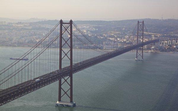 Man Made 25 de Abril Bridge Bridges Almada Tagus river Portugal Bridge River Lisbon HD Wallpaper   Background Image