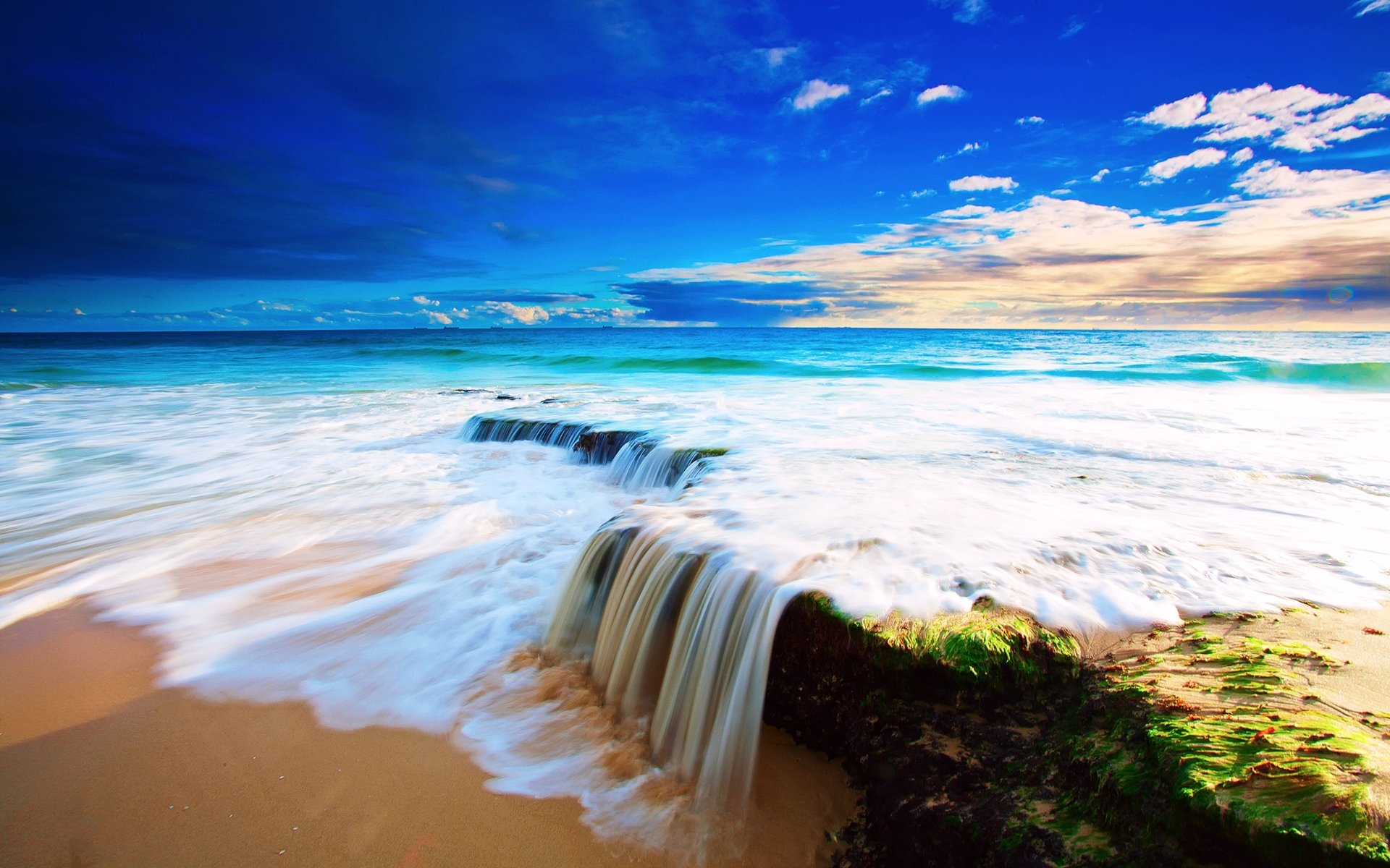 Earth - Ocean  Sky Earth Nature Landscape Sand Sea Beach Blue Sunrise Wallpaper