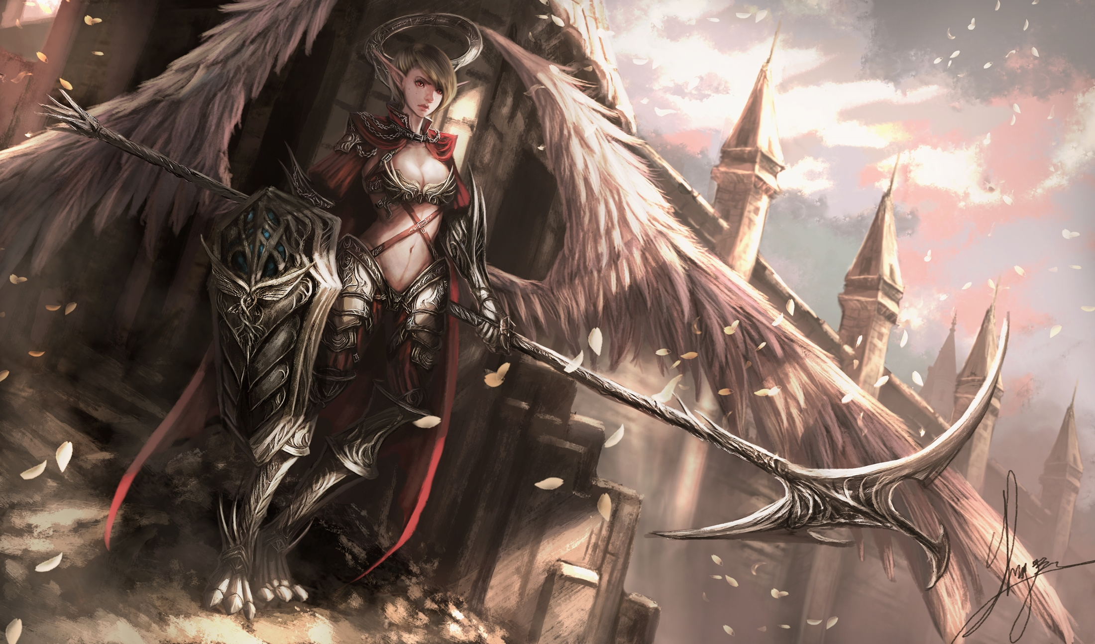Fantasy - Angel Warrior  Fantasy Armor Shield Angel Weapon Woman Warrior Wings Wallpaper