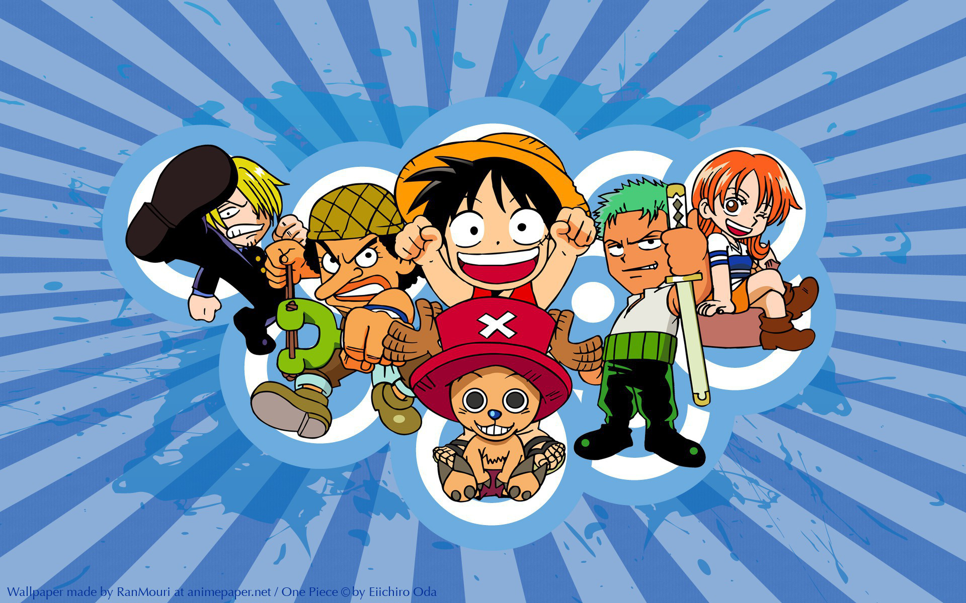 Anime - One Piece  Anime Chibi Sanji (One Piece) Nami (One Piece) Usopp (One Piece) Zoro Roronoa Monkey D. Luffy Tony Tony Chopper Wallpaper