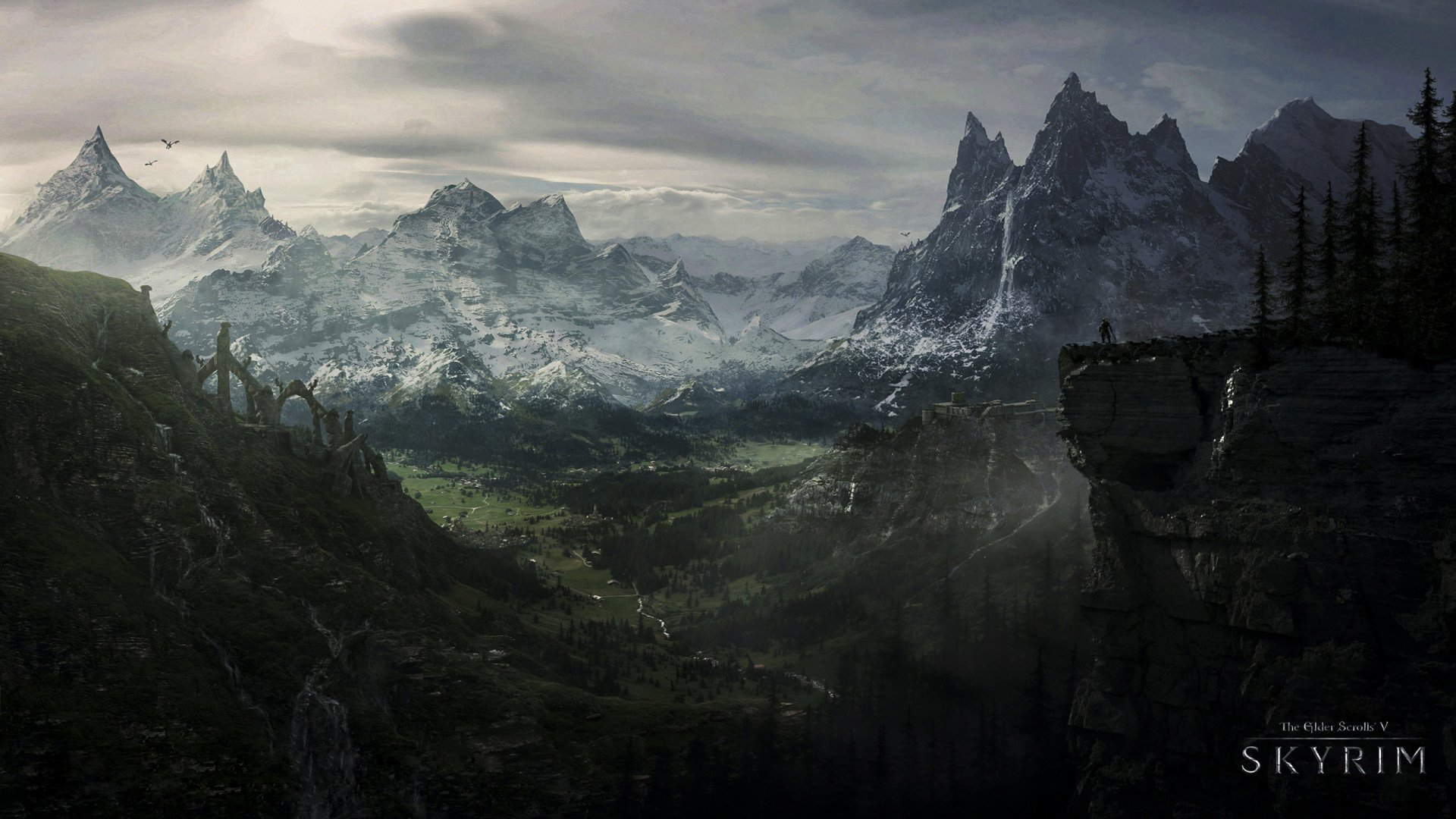 Video Game - The Elder Scrolls V: Skyrim  Mountain The Elder Scrolls Skyrim Forest Waterfall Dragon Castle Ruin Wallpaper