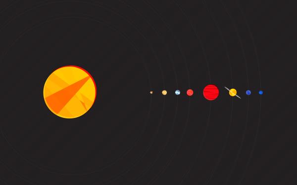 Sci Fi Solar System Minimalist Sun Planet Mercury Venus Earth Mars Jupiter Saturn Uranus Neptune HD Wallpaper | Background Image