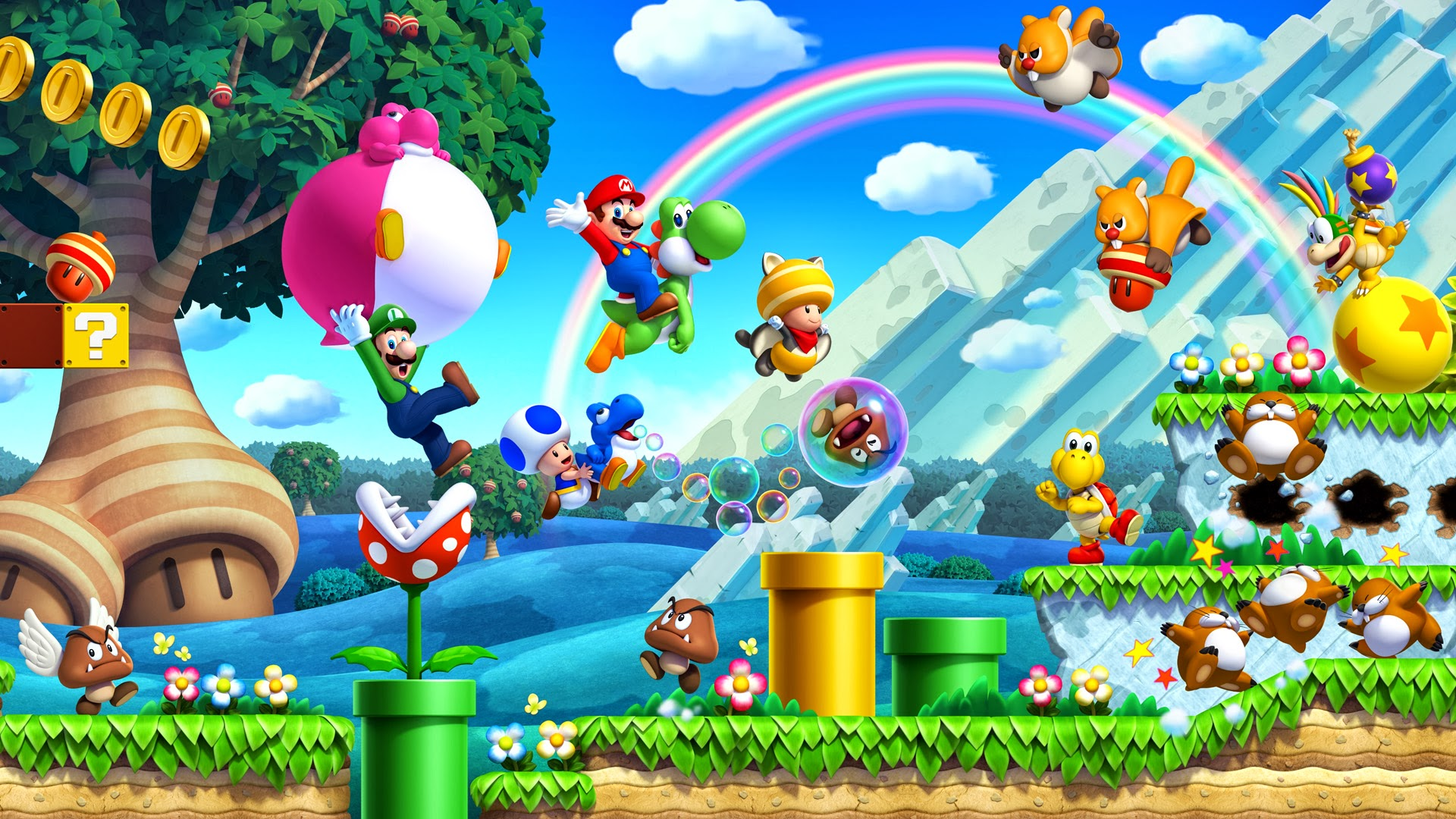 New super mario bros u wallpaper full hd fond d 39 cran and for Super fond ecran
