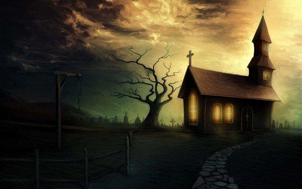 Dark Creepy Cemetery HD Wallpaper | Background Image