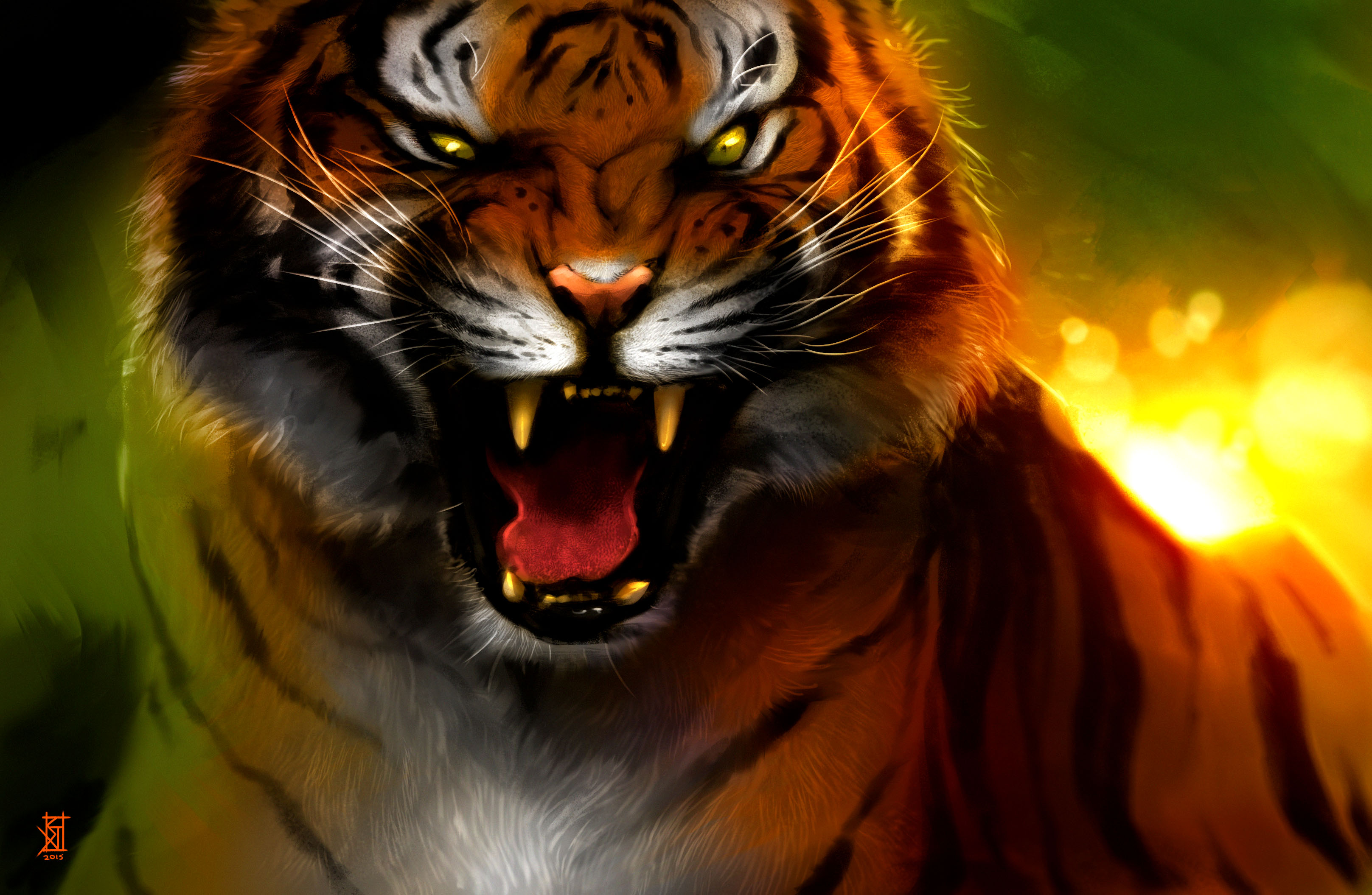 Angry snarling tiger HD Wallpaper | Background Image ...