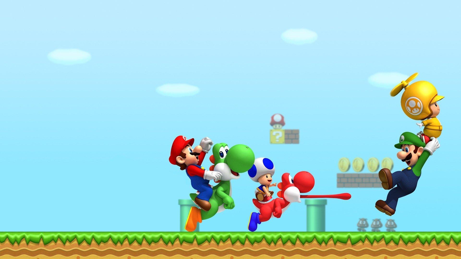 Video Game - New Super Mario Bros. Wii  Mario Yoshi Toad (Mario) Luigi Wallpaper