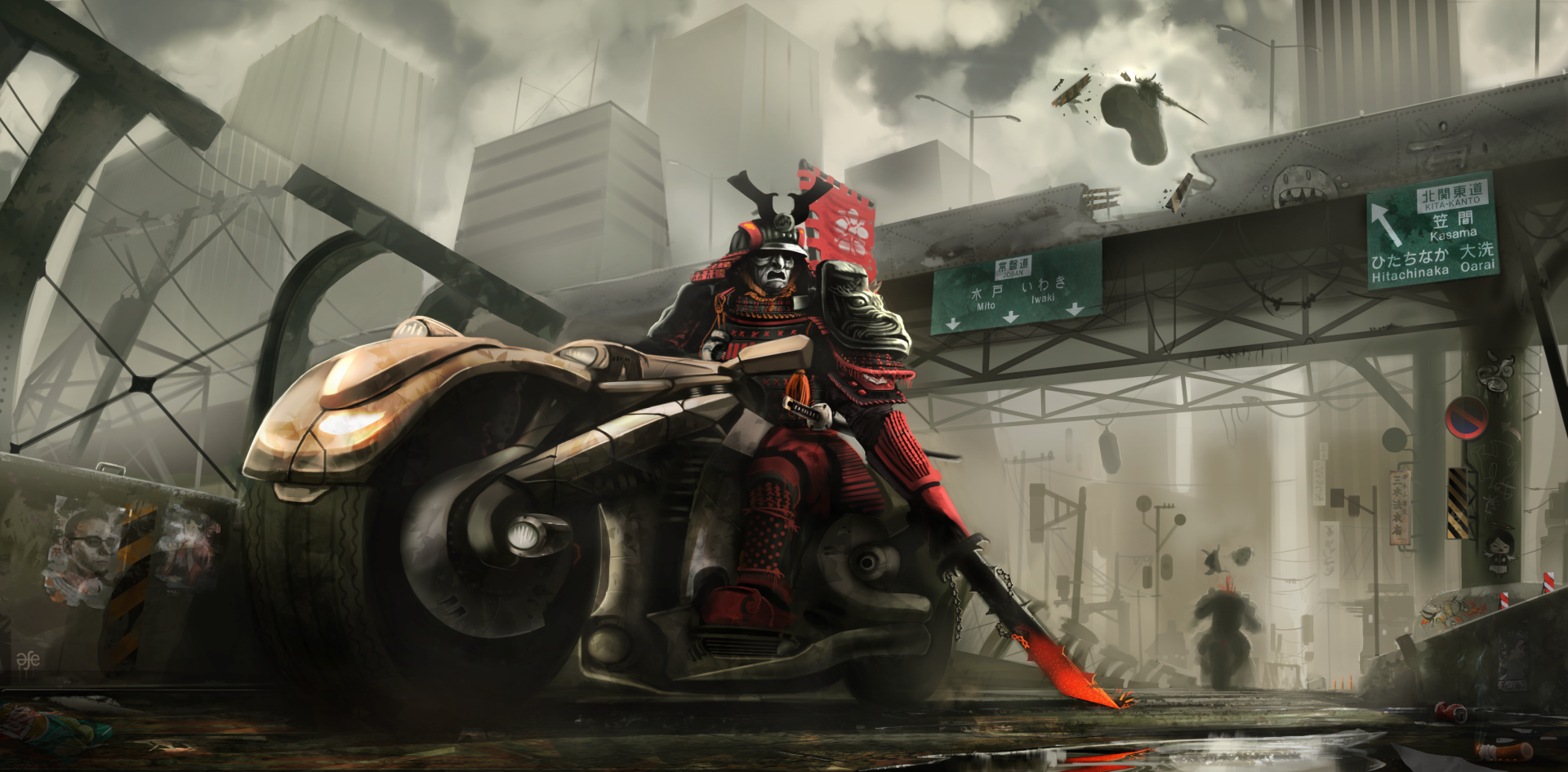 Sci Fi - Warrior  City Sword Bike Motorcycle Armor Samurai Wallpaper
