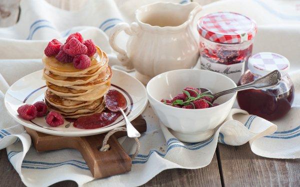 Alimento Desayuno Panqueque Mermelada Frambuesa Fondo de pantalla HD | Fondo de Escritorio