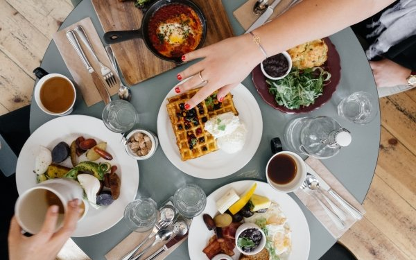 Food Meal Table Breakfast Waffle HD Wallpaper | Background Image
