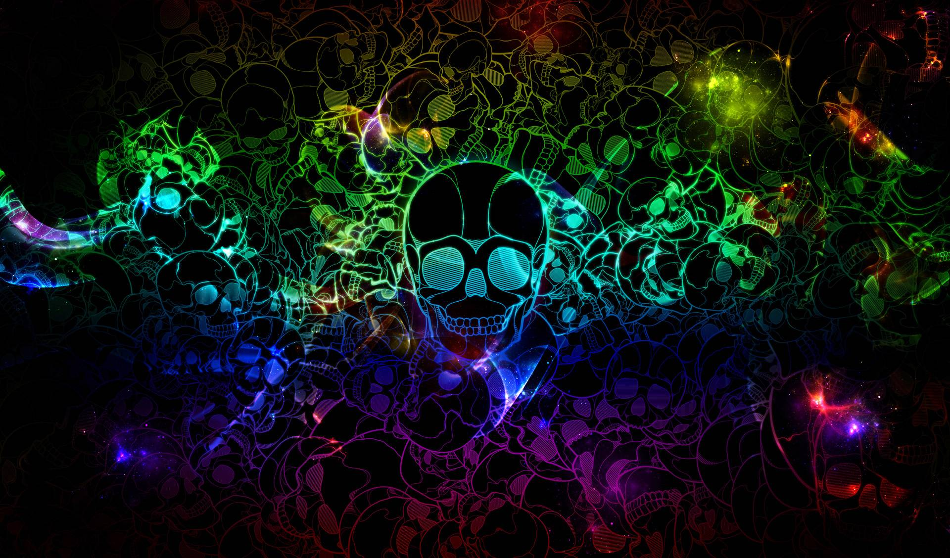 Abstract - Artistic  Skull Colors Colorful Psychedelic Wallpaper