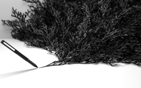 Abstract Artistic Pen Black & White 3D CGI Black White HD Wallpaper | Background Image