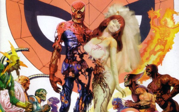 Comics Marvel Zombies Spider-Man Mary Jane Watson Wolverine Electro Captain America Kingpin Human Torch Daredevil Doctor Octopus Lizard HD Wallpaper | Background Image