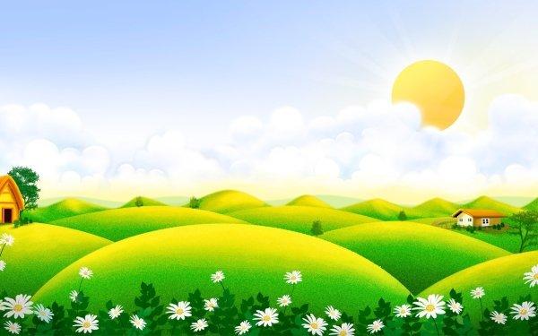 Artistic Summer Landscape Meadow HD Wallpaper | Background Image