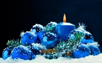 Holiday Christmas Blue Christmas Ornaments Candle Snow HD Wallpaper | Background Image