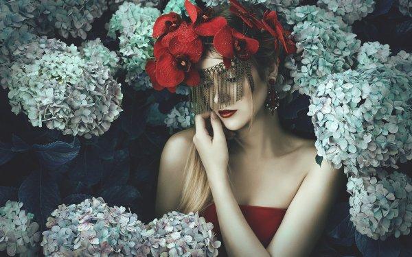 Women Model Models Flower Blonde Lipstick Earrings Hydrangea HD Wallpaper | Background Image