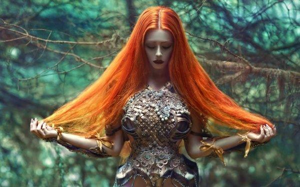 Women Mood Redhead Long Hair Fantasy Cosplay HD Wallpaper | Background Image