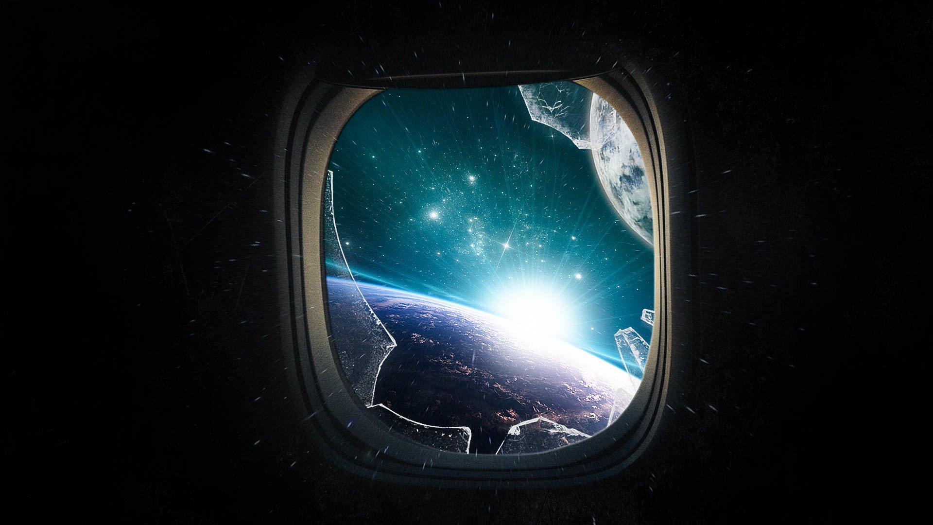 Sci Fi - Sunrise  Planet Sunlight Stars Asteroid Broken Glass Window Wallpaper