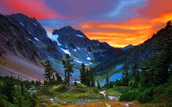 Earth Alps Mountain Mountains Nature Mountain Alps Switzerland Tree Sunset HD Wallpaper | Background Image