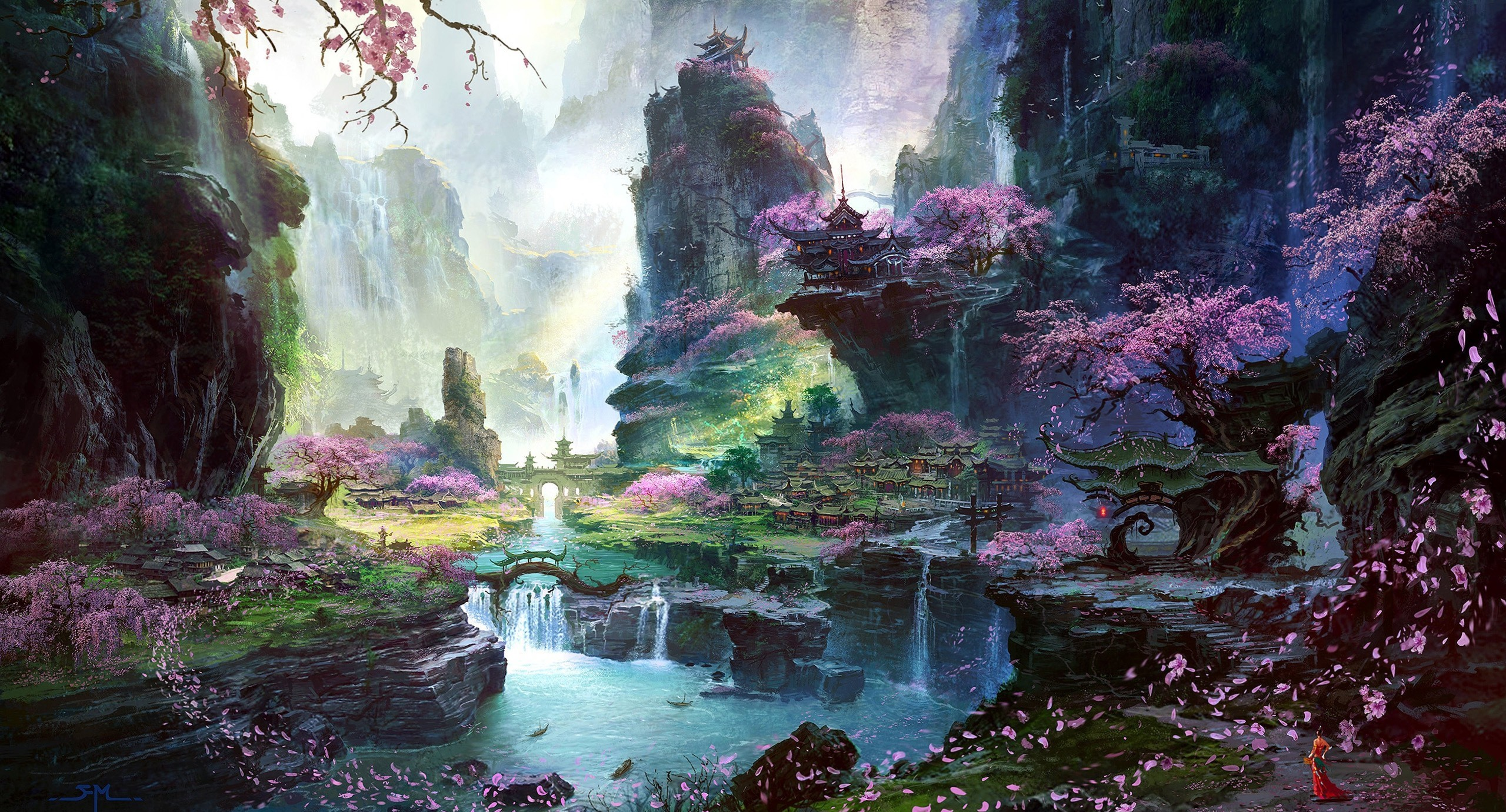 Fantasy - City  Oriental Fantasy Landscape Village Cherry Blossom Flower Petal Waterfall Rock Wallpaper