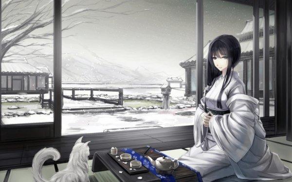 Anime Original Long Hair Kimono White Dress Japanese Clothes Dog Winter Tea Cup Drink Snowfall HD Wallpaper | Background Image