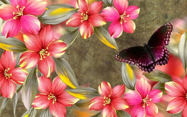 Artistic Flower Flowers Hibiscus Spring Butterfly Pink Purple HD Wallpaper   Background Image