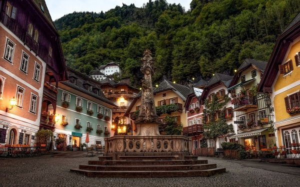Man Made Village Street Square Architecture Austria Building House HD Wallpaper | Background Image