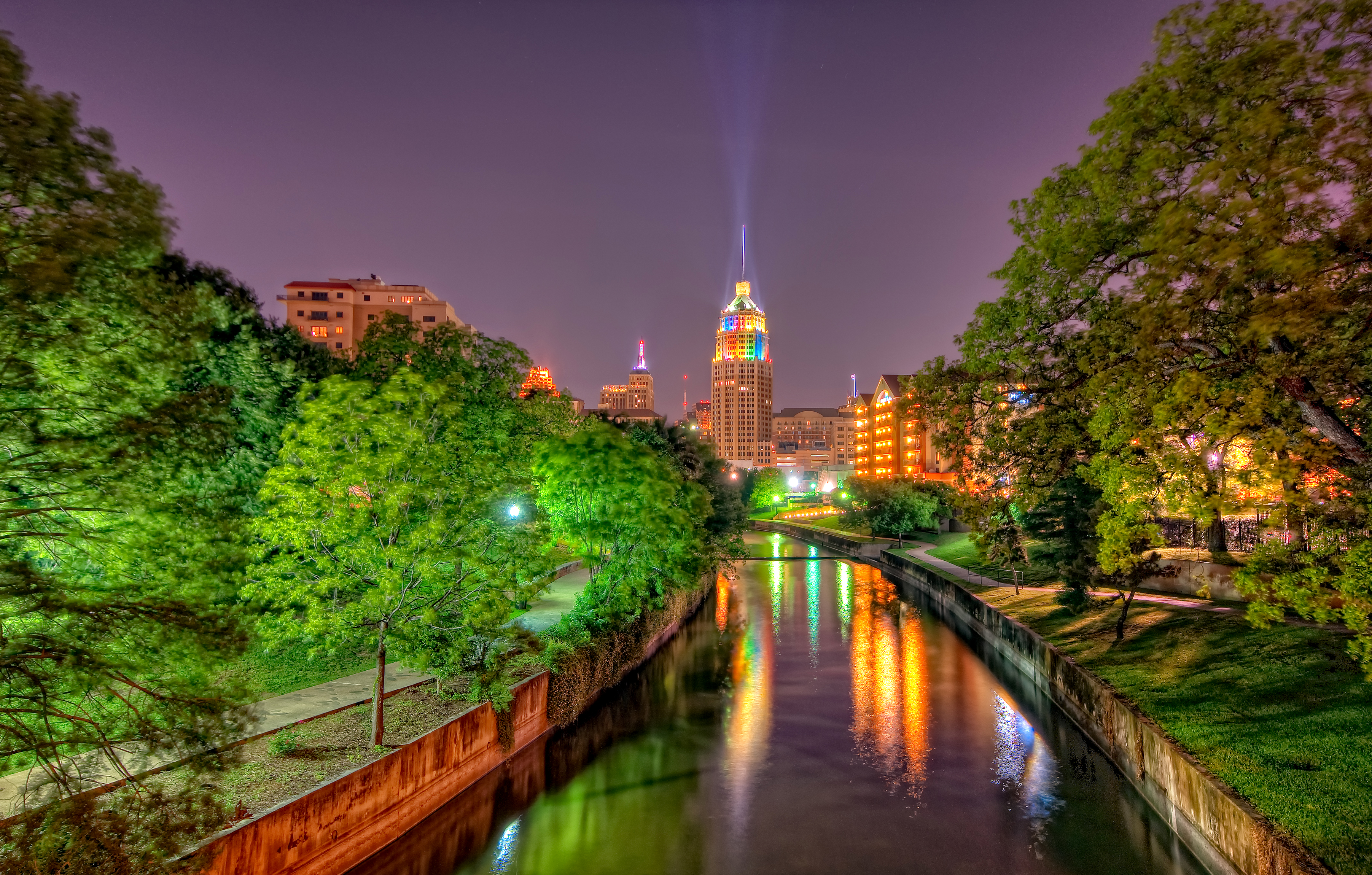 View Of San Antonio Texas At Night Full HD Wallpaper And Background