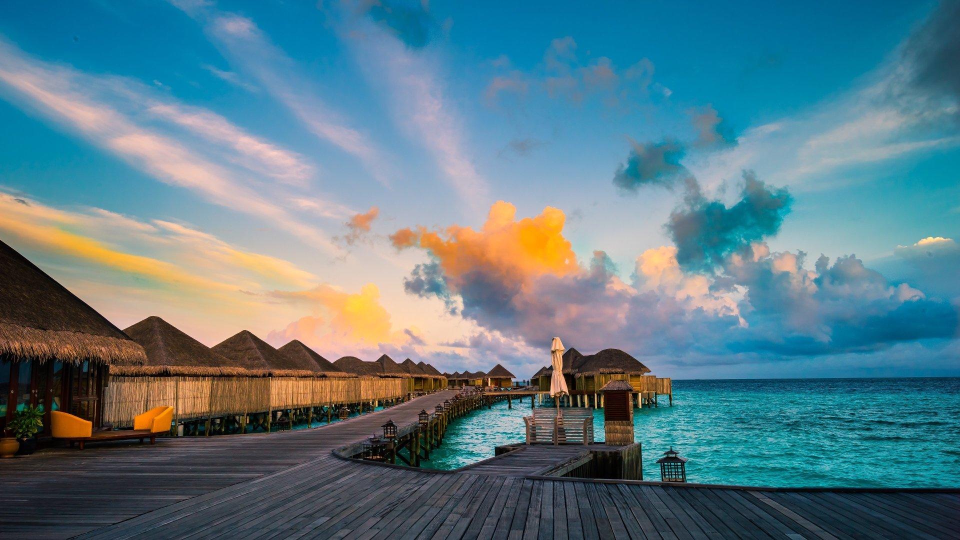 Man Made - Resort  Man Made Bungalow Beach Maldives Ocean Blue Cloud Wallpaper