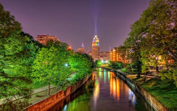 Man Made San Antonio Cities United States City Texas Light River Tree Building HD Wallpaper   Background Image