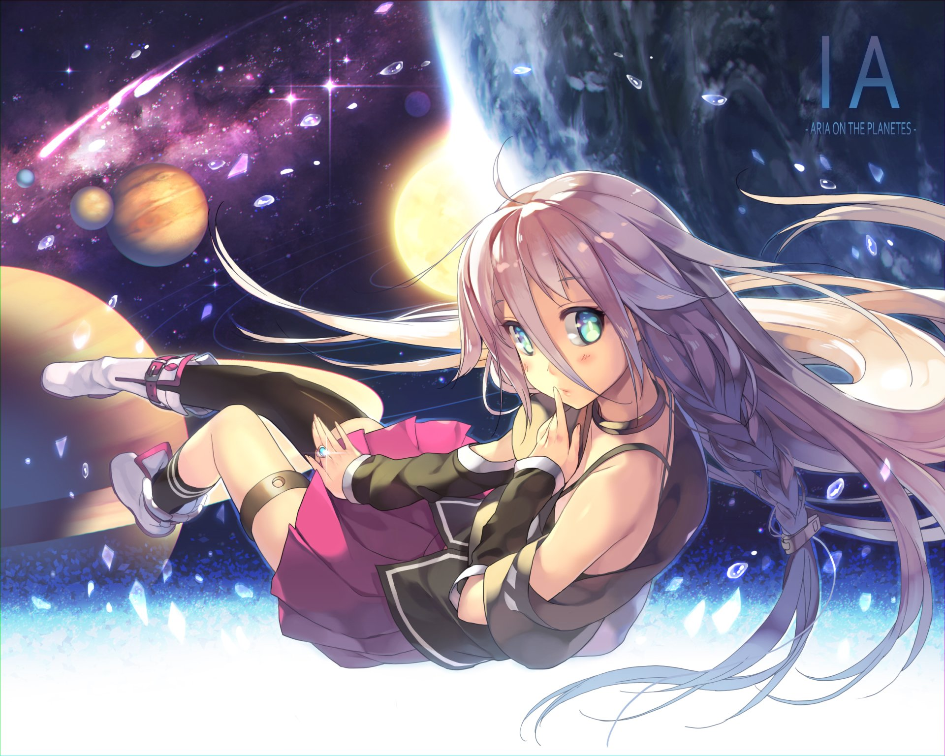 Anime - Vocaloid  IA (Vocaloid) Long Hair White Hair Blue Eyes Space Planet Stars Skirt Braid Sun Wallpaper