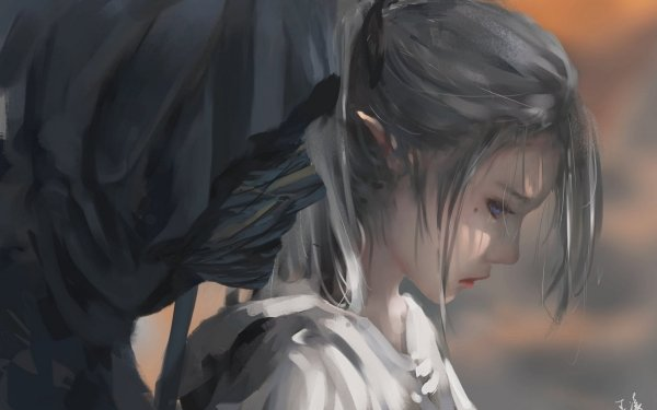 Comics GhostBlade Sad Grey Hair Blue Eyes HD Wallpaper | Background Image