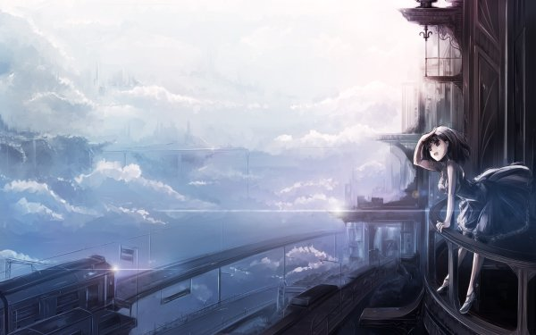 Anime Original Cloud Sky Train Sci Fi HD Wallpaper | Background Image