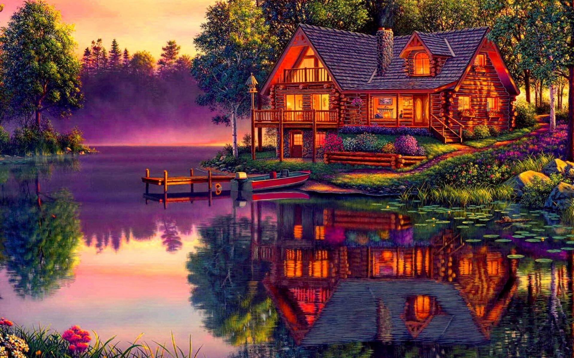 Artistic - House  Artistic Landscape Lake Cabin Dusk Boat Tree Reflection Wallpaper
