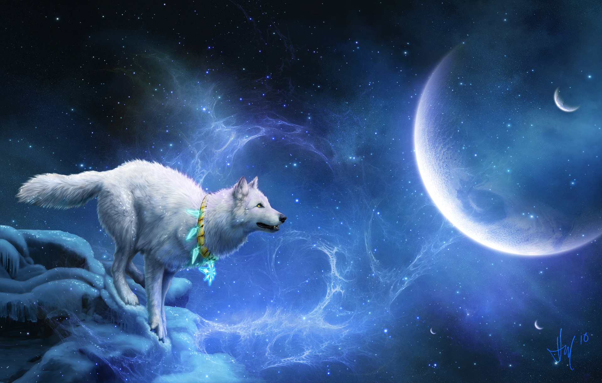 Fantasy - Wolf  Fantasy Animal Sky Stars Moon Planet Dreamcatcher Wallpaper