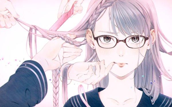 Anime Original Long Hair Pink Hair Braid Glasses Grey Eyes Blush Hand HD Wallpaper   Background Image