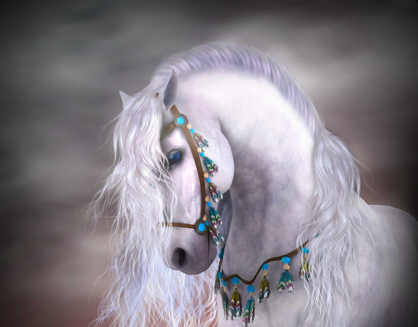 Fantasy - Horse  Fantasy White Close-up Blue Eyes Turquoise Feather Wallpaper