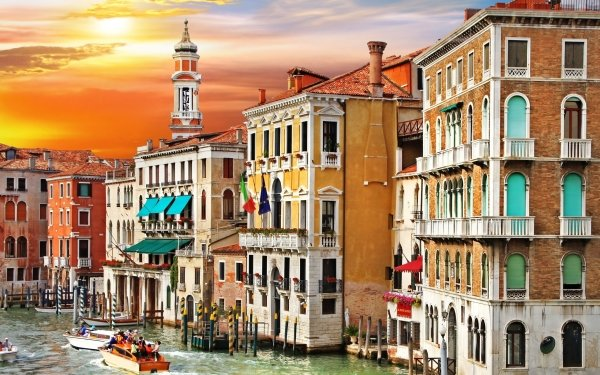 Man Made Venice Cities Italy Building Colorful Grand Canal Sunset HD Wallpaper | Background Image
