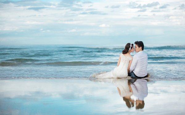 Women Love Couple Groom Bride Wedding Beach Sea Horizon Reflection Sky HD Wallpaper | Background Image