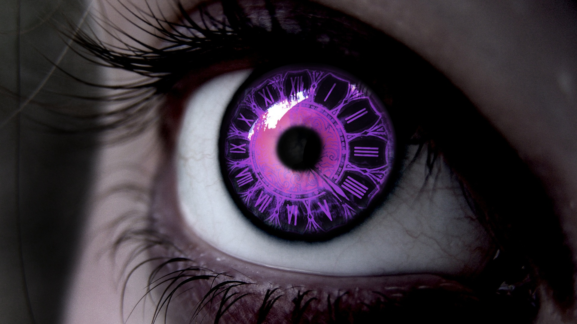 Purple eye clock hd wallpaper background image 1920x1080 id 684757 wallpaper abyss - Eye drawing wallpaper ...