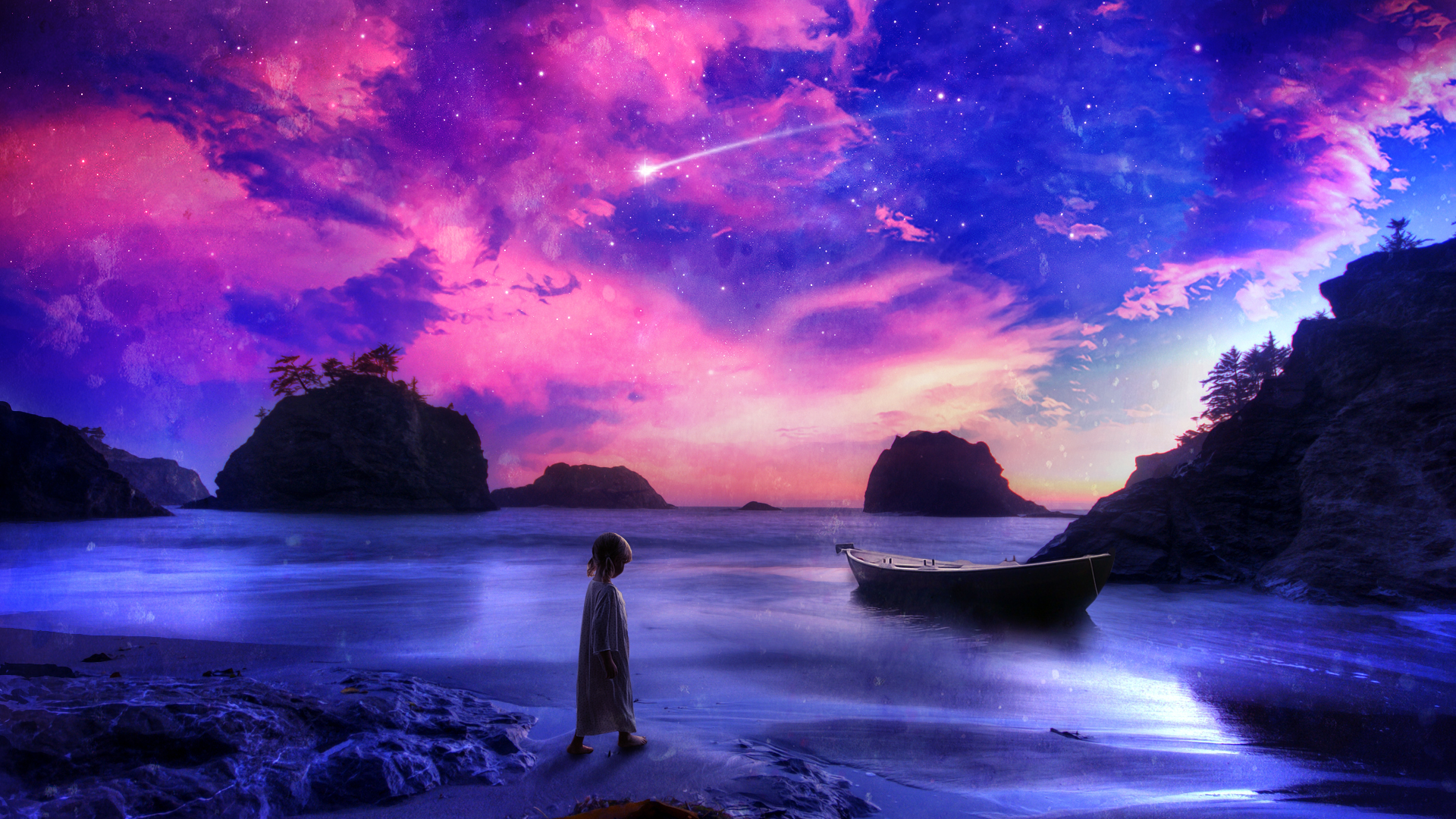 Little Girl On Other Worldly Beach Full HD Wallpaper And Background